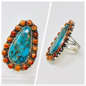 Jewelry - Vintage sterling, turquoise & coral ring, 11.7g